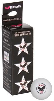 Мяч для н/тенниса Butterfly Three Star Ball 40 3шт. - фото 10702
